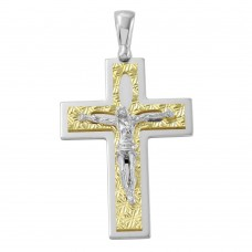 Sterling Silver Two Tone D/C Gold Plated Crucifix Pendant with Pearl Design - ARP00014