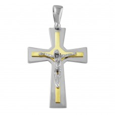 Sterling Silver Rhodium & Matted Gold Plated Crucifix Pendant - ARP00015