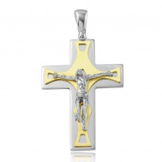 Sterling Silver Rhodium & Matte Gold Plated Crucifix Pendant with Trapezoid Design - ARP00016GP