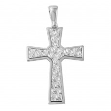 Sterling Silver Rhodium Plated D/C Cross Pendant - ARP00017