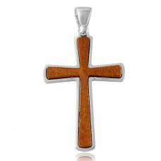 Sterling Silver Rhodium Plated Wooden Cross Pendant - ARP00020