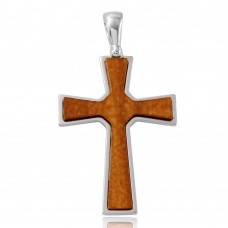 Sterling Silver Rhodium Plated Big Wooden Cross Pendant - ARP00021