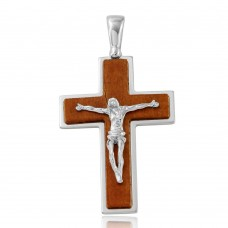 Sterling Silver Rhodium Plated Wooden Crucifix Pendant - ARP00022
