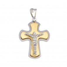Wholesale Sterling Silver 925 Two-Tone Small Crucifix Pendant - ARP00027GP