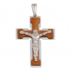 Wholesale Sterling Silver 925 Rhodium Plated and Wood Crucifix Pendant - ARP00029B
