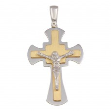 Wholesale Sterling Silver 925 Two Toned Small Crucifix Pendant - ARP00032GP