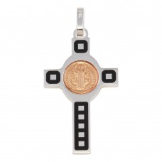 Wholesale Sterling Silver 925 Rhodium Plated Cross Pendant with Rose Gold Plated Medallion - ARP00034RGP