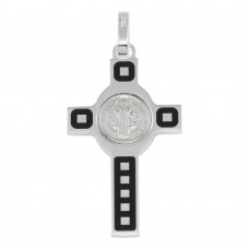 Wholesale Sterling Silver 925 Rhodium Plated Cross Pendant with Medallion - ARP00034