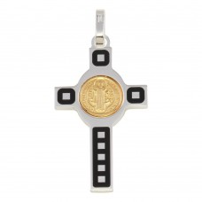 Wholesale Sterling Silver 925 Rhodium Plated Cross Pendant with Gold Plated Medallion - ARP00034GP