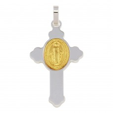 Wholesale Sterling Silver 925 Rhodium Plated Cross Pendant with Gold Plated Medallion - ARP00035GP