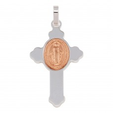 Wholesale Sterling Silver 925 Rhodium Plated Cross Pendant with Rose Gold Plated Medallion - ARP00035RGP