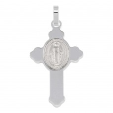 Wholesale Sterling Silver 925 Rhodium Plated Cross Pendant with Medallion - ARP00035