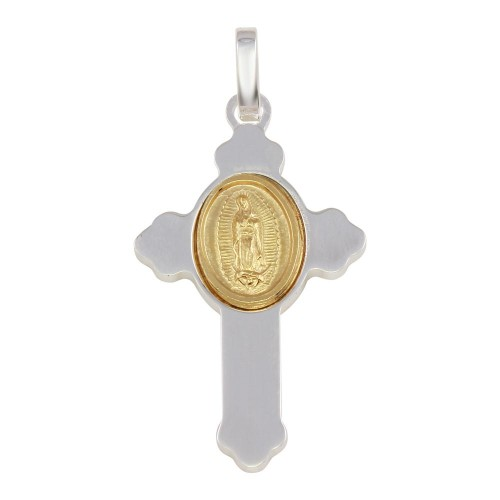 Wholesale Sterling Silver 925 Rhodium Plated Cross Pendant with Gold Plated Medallion - ARP00036GP