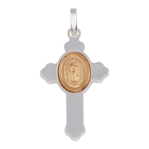Wholesale Sterling Silver 925 Rhodium Plated Cross Pendant with Rose Gold Medallion - ARP00036RGP