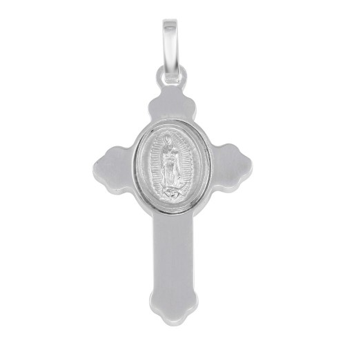Wholesale Sterling Silver 925 Rhodium Plated Cross Pendant with Medallion - ARP00036
