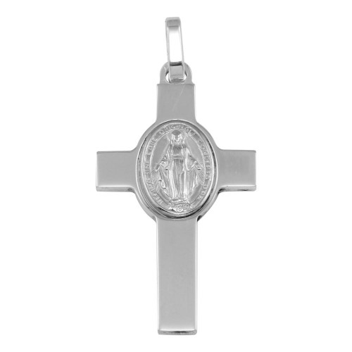 Wholesale Sterling Silver 925 Rhodium Plated Cross Pendant with Medallion - ARP00037
