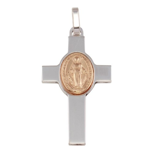 Wholesale Sterling Silver 925 Rhodium Plated Cross Pendant with Rose Gold Plated Medallion - ARP00037RGP