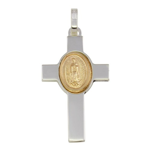 Wholesale Sterling Silver 925 Rhodium Plated Cross Pendant with Gold Plated Medallion - ARP00038GP