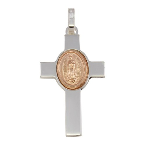 Wholesale Sterling Silver 925 Rhodium Plated Cross Pendant with Rose Gold Plated Medallion - ARP00038RGP