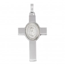 Wholesale Sterling Silver 925 Rhodium Plated Cross Pendant with Medallion - ARP00038