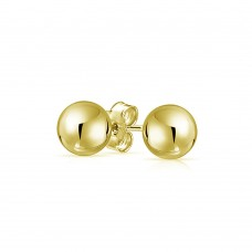 Wholesale Sterling Silver 925 Gold Plated Bead Stud Earrings - BD-STUD-GP