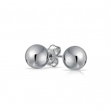 Wholesale Sterling Silver 925 Rhodium Plated Bead Stud Earrings - BD-STUD-RH