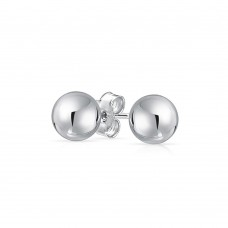 Wholesale Sterling Silver 925 High Polished Bead Stud Earrings - BD-STUD-SL
