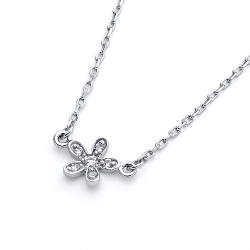 Wholesale Sterling Silver 925 Rhodium Plated Flower CZ Inlay Necklace - BGP00808