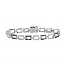 Sterling Silver Rhodium Plated Rectangle Link Bracelet with CZ - BGB00013