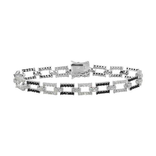 Wholesale Sterling Silver 925 Rhodium Plated Rectangle Link Bracelet with CZ - BGB00013