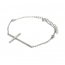**Closeout** Sterling Silver Rhodium Plated Sideways Cross with CZ Bracelet bgb00115