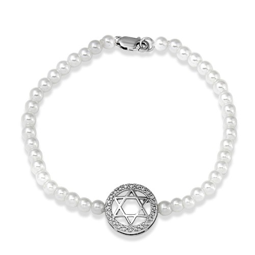 Wholesale Sterling Silver 925 Rhodium Plated White Synthetic Pearl Star of David CZ Bracelet - BGB00208WHT