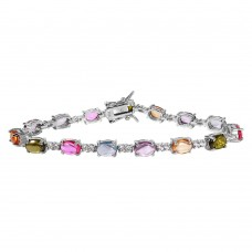 Wholesale Sterling Silver 925 Rhodium Plated Tennis Bracelet with Multi Color CZ Stones - BGB00258
