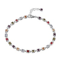 Wholesale Sterling Silver 925 Rhodium Plated Multi Color Tennis Bracelet - BGB00263