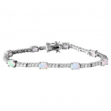 Wholesale Sterling Silver 925 Rhodium Plated Oval Opal and Round CZ Tennis Bracelet - BGB00264