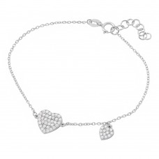 Wholesale Sterling Silver 925 Rhodium Plated CZ Encrusted Hearts Bracelet - BGB00265