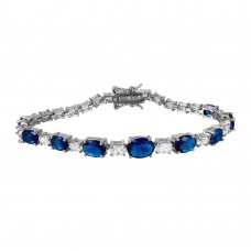 Sterling Silver Rhodium Plated 2 Toned Clear and Blue CZ Tennis Bracelet - BGB00266BLU