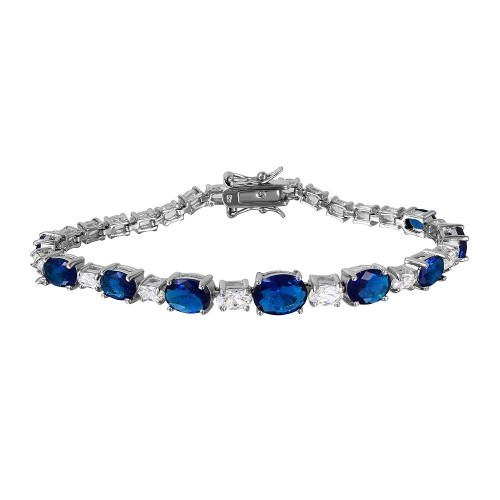 Wholesale Sterling Silver 925 Rhodium Plated 2 Toned Clear and Blue CZ Tennis Bracelet - BGB00266BLU