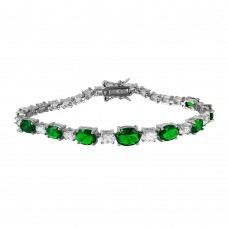 Sterling Silver Rhodium Plated 2 Toned Clear and Green CZ Tennis Bracelet - BGB00266GRN