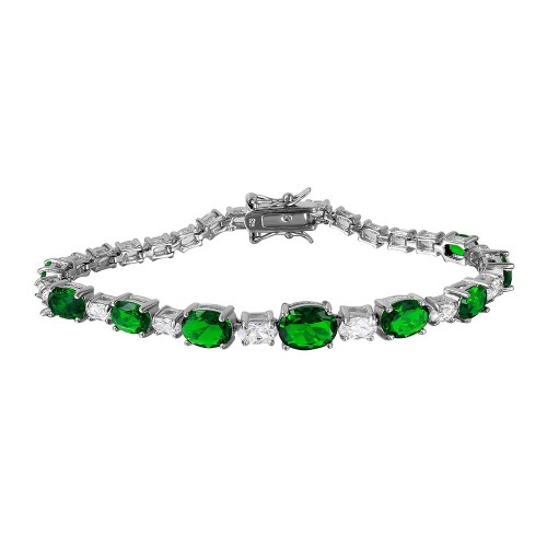 Wholesale Sterling Silver 925 Rhodium Plated 2 Toned Clear and Green CZ Tennis Bracelet - BGB00266GRN