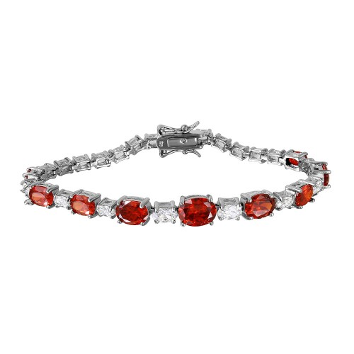 Wholesale Sterling Silver 925 Rhodium Plated 2 Toned Clear and Red CZ Tennis Bracelet - BGB00266RED