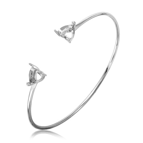 Wholesale Sterling Silver 925 Rhodium Plated Personalized 2 Hearts Ending Mounting Bangle - BGB00267