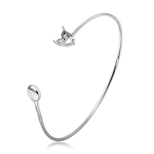 Wholesale Sterling Silver 925 Rhodium Plated Personalized Heart and Disc Ended Bangle Mounting Bracelet - BGB00268