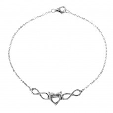 Wholesale Sterling Silver 925 Rhodium Plated Personalized Infinity Heart Mounting Bracelet - BGB00269