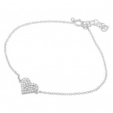 Wholesale Sterling Silver 925 Rhodium Plated CZ Encrusted Hearts Bracelet - BGB00271