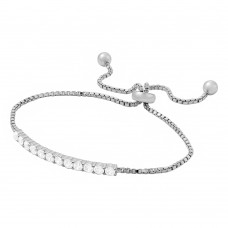 Wholesale Sterling Silver 925 Rhodium Plated Box Chain with CZ Lariat Bracelet - BGB00272