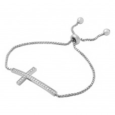 Wholesale Sterling Silver 925 Rhodium Plated CZ Cross Box Chain Lariat Bracelet - BGB00273