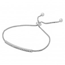 Wholesale Sterling Silver 925 Rhodium Plated Box Chain with CZ Lariat Bracelet - BGB00274