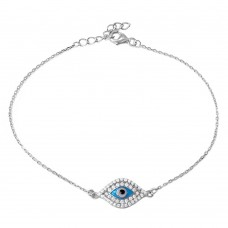 Wholesale Sterling Silver 925 Rhodium Plated CZ Evil Eye Chain Bracelet - BGB00275