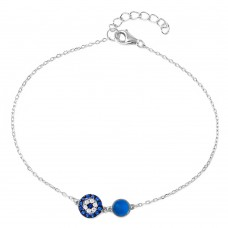 Wholesale Sterling Silver 925 Rhodium Plated CZ Evil Eye Chain Bracelet - BGB00276